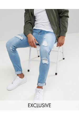 Liquor N Poker Skinny extreme rips jeans in light stonewash-Blue
