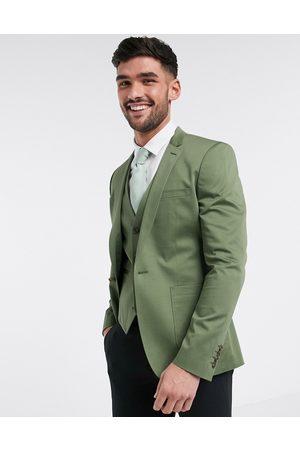 ASOS Super skinny blazer in olive stretch cotton-Green