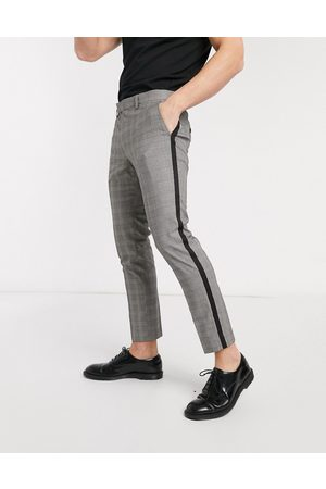 Moss Bros Moss London cropped checked trousers with black side stripe