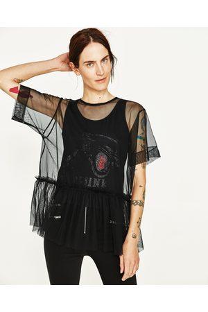 Senhora T-shirts & Manga Curta - Zara T-SHIRT COMBINADA TULE