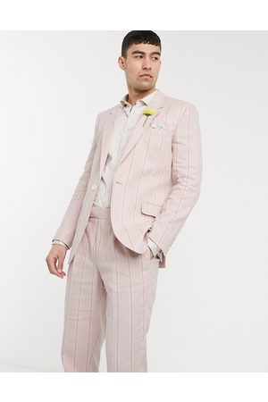 ASOS Wedding slim suit jacket in stretch cotton linen in pink and white stripe