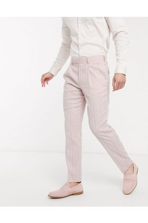 ASOS Wedding slim suit trousers in stretch cotton linen in pink and white stripe