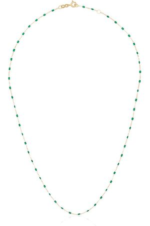 GIGI CLOZEAU 18kt yellow gold and green beaded necklace