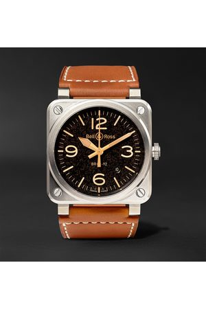 Bell & Ross Homem Relógios - BR 03-92 Golden Heritage 42mm Steel and Leather Watch, Ref. No. BR0392‐ST‐G-HE/SCA