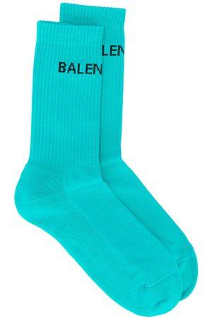 Balenciaga Homem Meias - Logo ribbed ankle socks