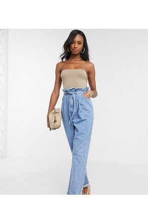 ASOS Tall ASOS DESIGN Tall tapered leg jeans with paper bag waist in light vintage wash-Blue