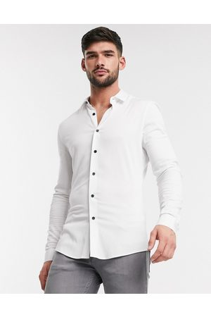 ASOS Muscle viscose shirt in white