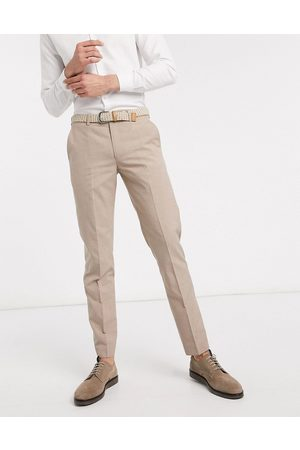 Harry Brown Slim fit plain suit trouser-Stone
