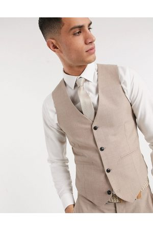 Harry Brown Slim fit plain suit waistcoat-Stone