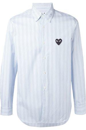 Comme des Garçons Embroidered heart striped shirt