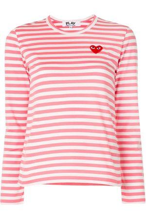 Comme Des Garçons Play Striped logo-patch long sleeved T-shirt