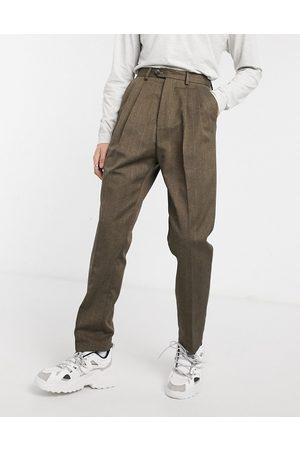ASOS DESIGN High waist wide leg trouser in brown stripe