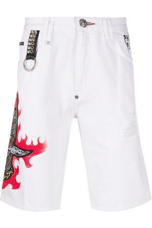Philipp Plein Denim embroidered dog shorts