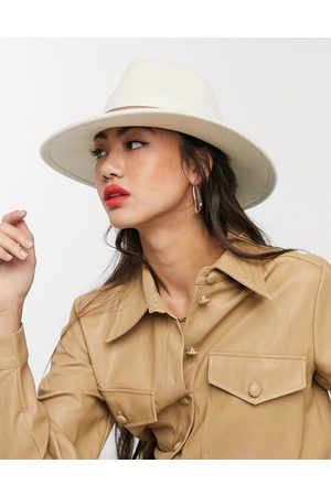 ASOS Felt fedora hat with tan band and size adjuster in cream