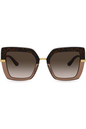 Dolce & Gabbana Half Print oversize-frame sunglasses