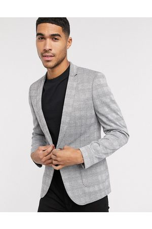 ASOS Skinny blazer in grey prince of wales check jersey