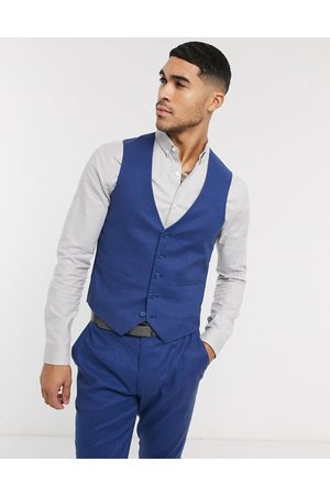 ASOS Homem Fatos - Wedding super skinny suit waistcoat in stretch cotton linen in navy