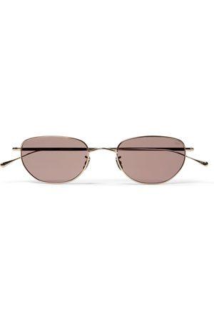 Eyevan 7285 Homem Óculos de Sol - Oval-Frame Gold-Tone Titanium Sunglasses