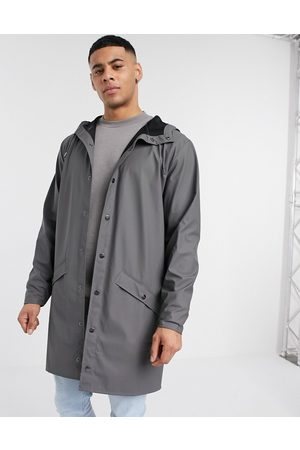 Rains Long hooded jacket in charcoal-Grey
