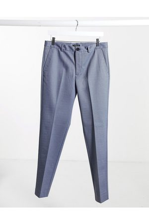 Selected Check trousers in slim fit light blue