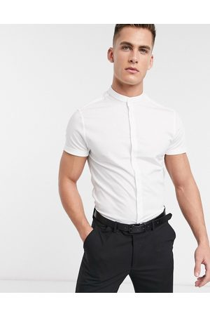 ASOS Stretch skinny fit shirt in white with grandad collar