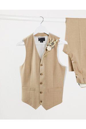 ASOS DESIGN Homem Fatos - Slim suit waistcoat in camel twist-Stone