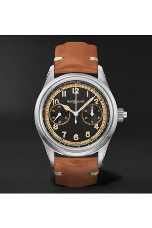Mont Blanc Homem Relógios - 1858 Monopusher Automatic Chronograph 42mm Stainless Steel and Leather Watch, Ref. No. 125581