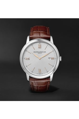 Baume & Mercier Homem Relógios - Classima Quartz 42mm Stainless Steel and Croc-Effect Leather Watch, Ref. No. 10415
