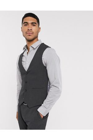 ASOS Wedding super skinny suit waistcoat in charcoal four way stretch-Grey