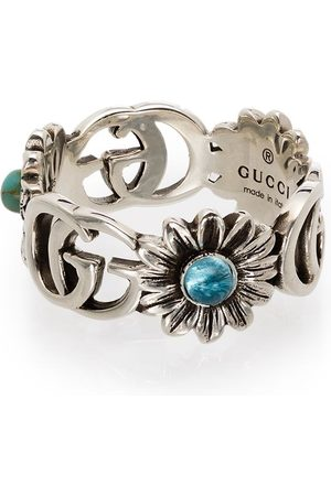 Gucci Double G floral-detail ring