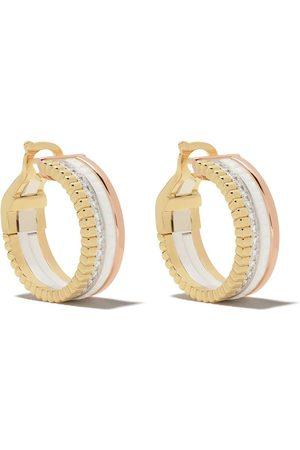Boucheron 18kt yellow, rose and white gold Quatre White Edition diamond and white ceramic hoops