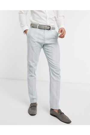 ASOS Wedding skinny suit trousers in stretch cotton linen in blue and white stripe