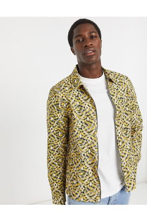 River Island Long sleeve shirt with abstract print in yellow