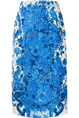 VALENTINO Floral-print mid-length skirt