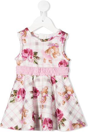 MONNALISA Teddy bear rose print ruffle detail dress