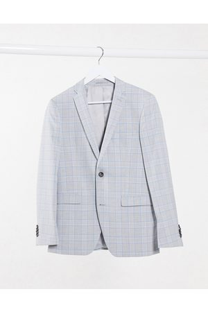 Esprit Slim Suit jacket in blue and grey check