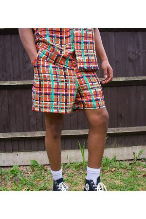 ASOS KENYA check print shorts co ord-Red