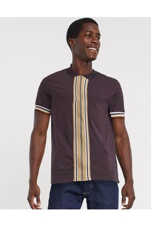 ASOS Jersey zip through shirt with retro tipping in burgundy-Red