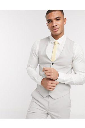 Harry Brown Skinny fit plain suit waistcoat-Grey