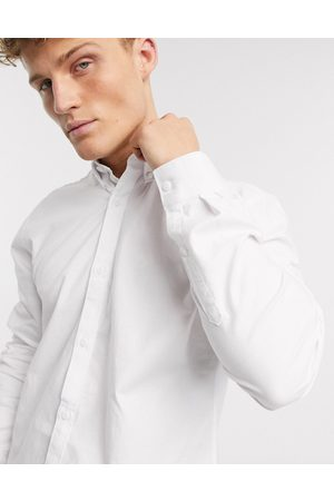 River Island Long sleeve regular fit oxford shirt in white