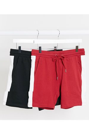 ASOS Jersey skinny shorts with side stripe 2 pack in black & red-Multi