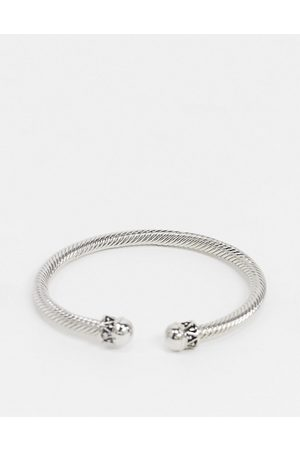 DesignB London Homem Pulseiras - DesignB bangle in silver with twisted rope design