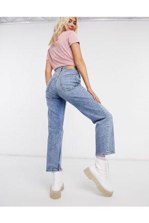 Monki Mulher Cintura Subida - Zami super high waist straight leg cropped jeans in vintage blue