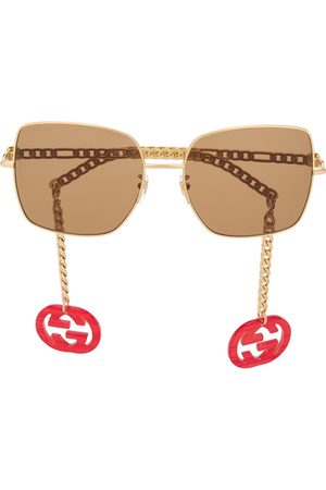 Gucci Square-frame chain-arms sunglasses