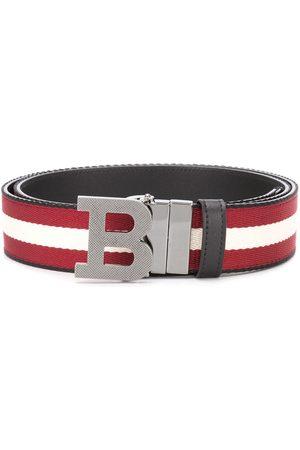 Bally Homem Cintos - Striped logo-buckle belt