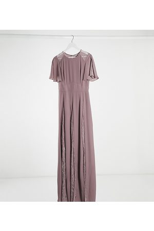 ASOS ASOS DESIGN Tall maxi dress with lace panels and blouson bodice-Purple