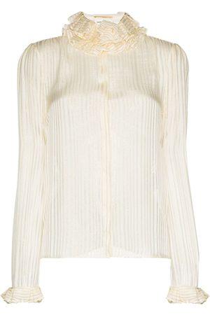 Saint Laurent Ruffled high neck striped blouse