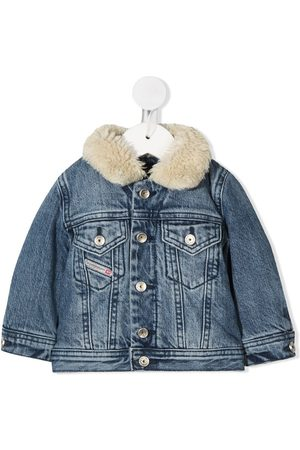Diesel Faux shearling collar denim jacket