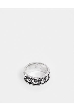 ASOS Ring with star and moon detail in burnished silver tone