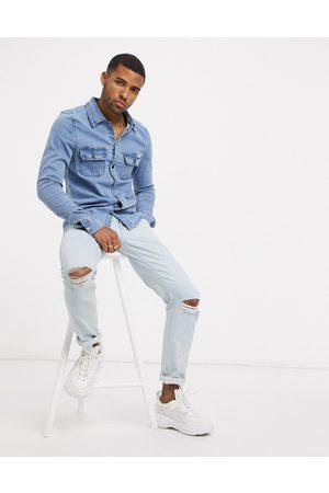 Liquor N Poker Muscle fit denim shirt in blue